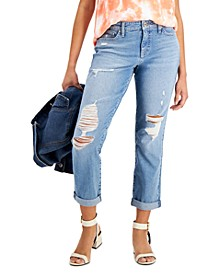 Petite Ripped Boyfriend Jeans, Created for Macy's