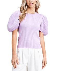 Ribbed Puff-Sleeve Top