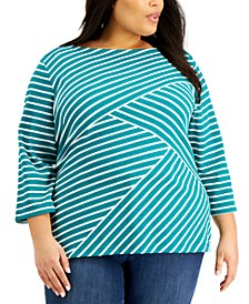 Plus Size Abstract Stripe Top, Created for Macy's