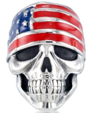 Men's Enamel Skull Ring in Stainless Steel