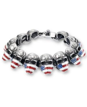 Men's Enamel Skull Bracelet in Stainless Steel