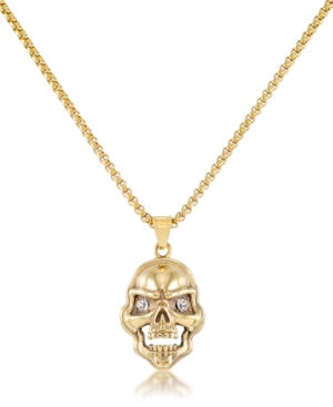 """Men's Cubic Zirconia Signature Skull 24"""" Pendant Necklace in Black Ion-Plated Stainless Steel (Also available in Gold-Tone Ion-Plated Stainless Steel)"""