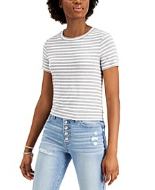 Juniors' Tie-Back Striped Top