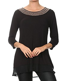 Studded Neckline Tunic Top