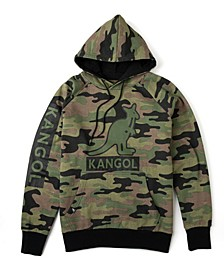 Men's Camouflage Fleece Hoodie with Chest and Sleeve Print