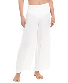 Crushed Smocked Swim Cover-Up Pants