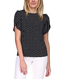Printed Petal-Sleeve Top, Regular & Petite
