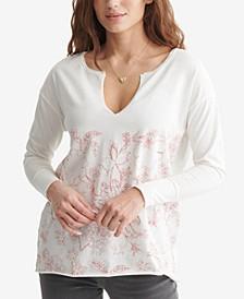 Printed Split-Neck Cotton Top