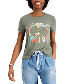 Juniors' Peace Sign Graphic-Print T-Shirt