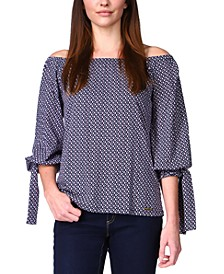 Printed Balloon-Sleeved Off-The-Shoulder Top