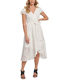 Embroidered Faux-Wrap Dress