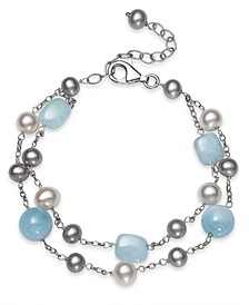 Milky Aquamarine and Cultured Freshwater Pearl Double Row Sterling Silver Bracelet