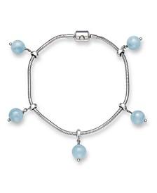 Milky Aquamarine Sliding Charm Bracelet in Sterling Silver