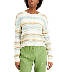 Juniors' Bubble-Knit Striped Sweater
