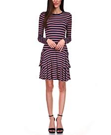 Striped Tiered-Skirt Dress, Regular & Petite