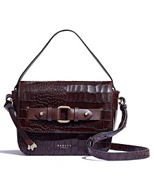 Agnes Street Small Croc Embossed Leather Crossbody