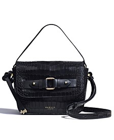 Agnes Street Small Croc Embossed Leather Crossbody