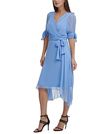 Tie-Sleeve Faux-Wrap Dress