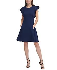 Ruffled-Sleeve Fit & Flare Dress