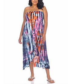 Plus Size Tie-Dyed Strapless Cover-Up Dress