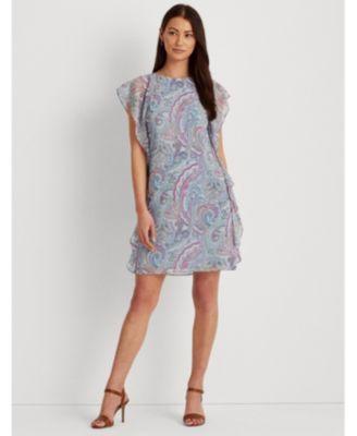 로렌 랄프로렌 Lauren Ralph Lauren Petite Ruffled Georgette Shift Dress,Cream/Blue Multi