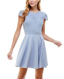 Juniors' Lace-Top Dress