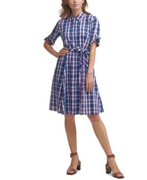 Vintage Shirtwaist Dress History Calvin Klein Plaid Shirtdress $119.00 AT vintagedancer.com