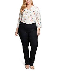 NYDJ Women's Plus Size Marilyn Straight Pull-On Jeans in Cool Embrace Denim
