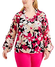 Plus Size Floral-Print Ruffled V-Neck Top