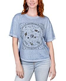 Juniors' Celestial-Print Burnout T-Shirt