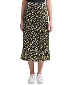 Printed Pull-On Midi Skirt