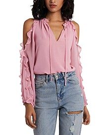 Ruffled Cold-Shoulder Top