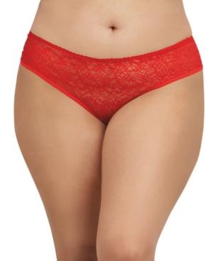 Women's Plus Size Low-Rise Crotchless Bikini Panty with Multi Ruffle Back Design