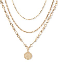 "Gold-Tone Crest Layered Pendant Necklace, 16"" + 3"" extender"
