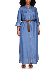 Plus Size Belted Maxi Shirt Dress
