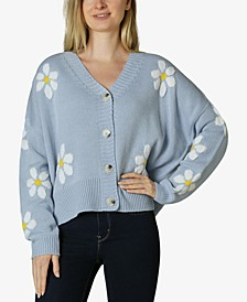 Juniors' Daisy Button-Front Cardigan