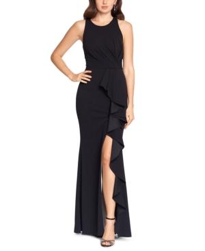 Ruffled High-Slit Gown