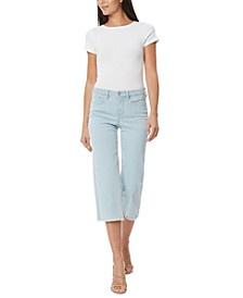 Wide-Leg Frayed-Hem Cropped Jeans