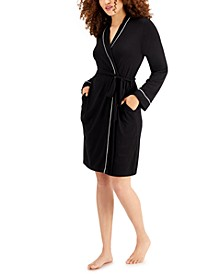 Women's Contrast Trim Short Robe, Created for Macy's