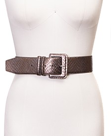 INC Snakeskin-Embossed Stretch Belt, Created for Macy's