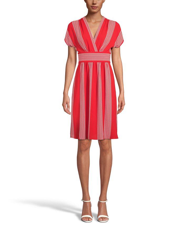 Anne Klein - Printed V-Neck Wrap Dress