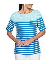 Women's Plus Size Knit Engineered Stripe Top