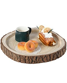 Wood Tree Bark Indented Display Tray Serving Plate Platter Charger
