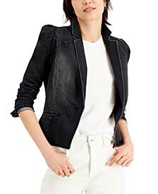 INC Puff-Sleeve Denim Blazer, Created for Macy's