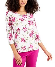 Petite Jacquard 3/4-Sleeve Top, Created for Macy's