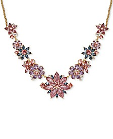 "Gold-Tone Multi-Crystal Flower Statement Necklace, 17"" + 2"" extender, Created for Macy's"