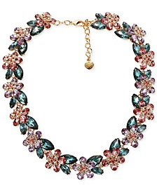 "Gold-Tone Multi-Crystal Flower Collar Necklace, 17"" + 2"" extender, Created for Macy's"