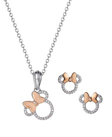 Minnie Mouse Diamond Accent Pendant and Earring Set in Sterling Silver with 18K Rose Gold Plated Accents