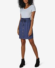 Juniors' Scoop-Neck Paperbag-Waist Dress