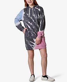 Juniors' Tie-Dye Fleece Hoodie Dress